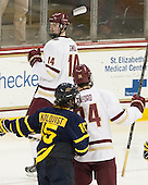 Adam Gilmour (BC - 14) - The Boston College Eagles defeated the visiting Merrimack College Warriors 2-1 on Wednesday, January 21, 2015, at Kelley Rink in Conte Forum in Chestnut Hill, Massachusetts.