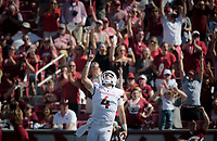 NWA Democrat-Gazette/CHARLIE KAIJO Arkansas Razorbacks quarterback Ty Storey (4) reacts after a touchdown during a football game, Saturday, September 1, 2018 at Razorback Stadium in Fayetteville.