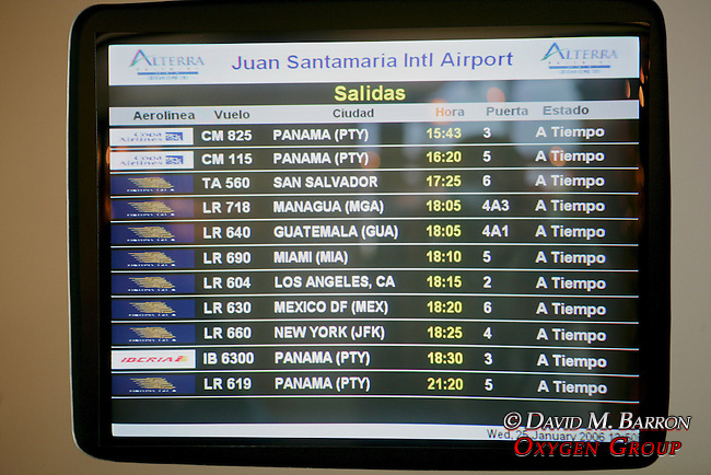 Jaun Santamaria Airport Flight Monitor Screens