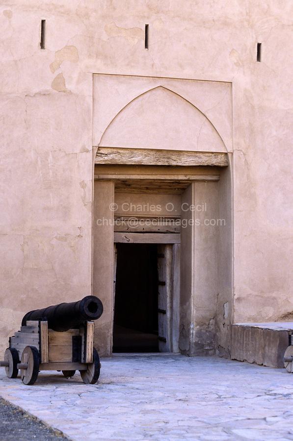 Jabrin, Oman.  Cannon alongside Entrance to Jabrin Fort.