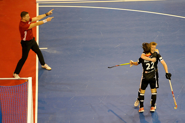 Berlin, Germany, February 10: During the FIH Indoor Hockey World Cup semi-final match between Germany (black) and Iran (white) on February 10, 2018 at Max-Schmeling-Halle in Berlin, Germany. Final score 6-2. (Photo by Dirk Markgraf / www.265-images.com) *** Local caption *** Ferdinand WEINKE #18 of Germany, Marco MILTKAU #22 of Germany