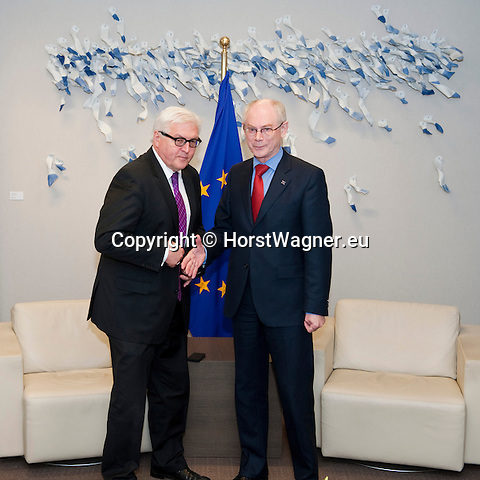 Brussels-Belgium - January 07, 2014 -- Frank-Walter STEINMEIER (le), German Foreign Minister, travels to Brussels for his first official visit since returning to office and meets the top officials of the European institutions; here, with Herman Van ROMPUY (ri), President of the European Council -- Photo: © HorstWagner.eu