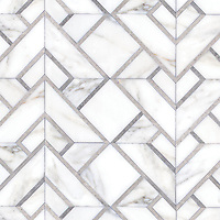 Serengeti Stripe Grand, a hand-cut stone mosaic, shown in polished Calacatta Gold and honed Palomar. Designed by Joni Vanderslice as part of the J. Banks Collection for New Ravenna.