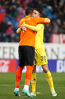 Sergio Asenjo and Gabriel of Villarreal during La Liga match between Atletico de Madrid and Villarreal at Vicente Calderon stadium in Madrid, Spain. December 14, 2014. (ALTERPHOTOS/Caro Marin) /NortePhoto