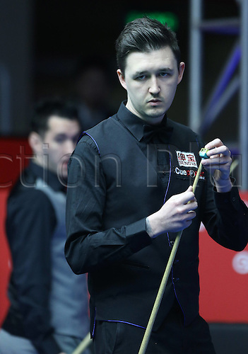 29.03.2016. Beijing, China,  Kyren Wilson of Britain reacts during the match against Tom Ford of Britain at the 2016 World Snooker China Open in Beijing, China, March 29, 2016. ing