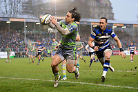 Juan Pablo Socino of Newcastle Falcons gathers the ball behind his own try-line. Anglo-Welsh Cup match, between Bath Rugby and Newcastle Falcons on January 27, 2018 at the Recreation Ground in Bath, England. Photo by: Patrick Khachfe / Onside Images