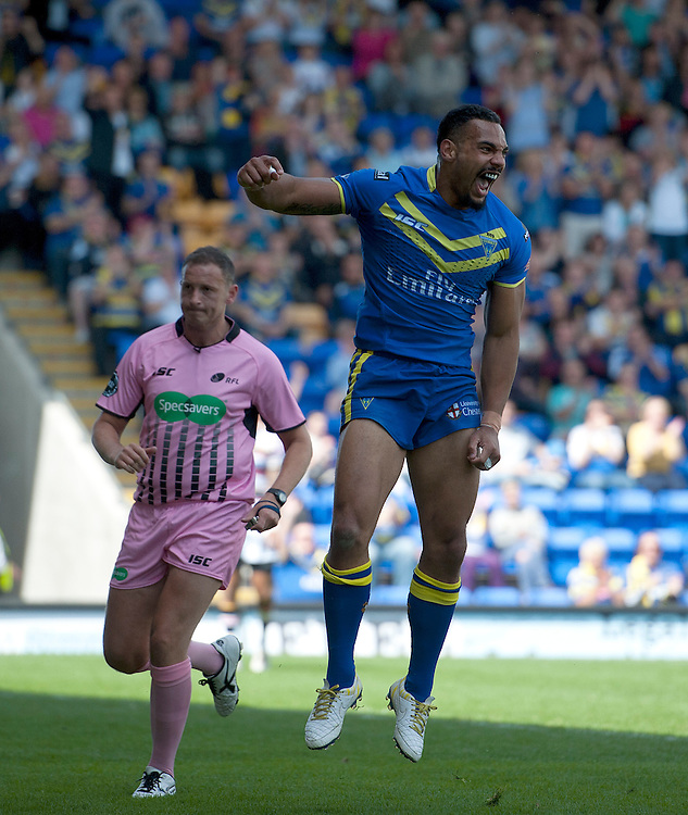 Warrington Wolves' Ryan Atkins celebrates scoring his sides second try <br /> <br /> Photographer Stephen White/CameraSport<br /> <br /> Rugby League - First Utility Super League - Round 18 - Warrington Wolves v Bradford Bulls - Sunday 29th June 2014 - Halliwell Jones Stadium - Warrington<br /> <br /> &copy; CameraSport - 43 Linden Ave. Countesthorpe. Leicester. England. LE8 5PG - Tel: +44 (0) 116 277 4147 - admin@camerasport.com - www.camerasport.com