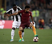 Calcio, Serie A: Roma, stadio Olimpico, 14 maggio 2017.<br /> AS Roma's Mohamed Salah (r) in action with Juventus' Kwadwo Asamoah (l) during the Italian Serie A football match between AS Roma and Juventus at Rome's Olympic stadium, May 14, 2017.<br /> UPDATE IMAGES PRESS/Isabella Bonotto