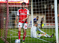 Fleetwood Town's Chris Long gathers the ball after opening the scoring<br /> <br /> Photographer Alex Dodd/CameraSport<br /> <br /> The EFL Checkatrade Trophy - Northern Group B - Fleetwood Town v Leicester City U21 - Tuesday September 11th 2018 - Highbury Stadium - Fleetwood<br />  <br /> World Copyright &copy; 2018 CameraSport. All rights reserved. 43 Linden Ave. Countesthorpe. Leicester. England. LE8 5PG - Tel: +44 (0) 116 277 4147 - admin@camerasport.com - www.camerasport.com