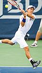 Kei Nishikori (JPN) falls to Richard Gasquet (FRA) in a swift 61 64 at the Citi Open in Washington, DC on August 1, 2014.