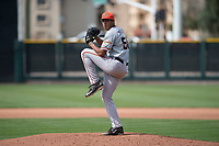 San Francisco Giants relief pitcher Aaron Phillips (50) prepares to deliver a pitch to the plate during a Minor League Spring Training game against the Cleveland Indians at the San Francisco Giants Training Complex on March 14, 2018 in Scottsdale, Arizona. (Zachary Lucy/Four Seam Images)