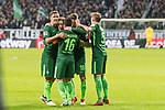 11.02.2018, Weserstadion, Bremen, GER, 1.FBL, SV Werder Bremen vs VfL Wolfsburg<br /> <br /> im Bild<br /> Florian Kainz (Werder Bremen #7) bejubelt Treffer zum 2:0, mit Teamkollegen, Zlatko Junuzovic (Werder Bremen #16), Max Kruse (Werder Bremen #10), Ludwig Augustinsson (Werder Bremen #5), <br /> <br /> Foto &copy; nordphoto / Ewert