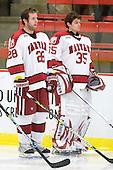 Chris Huxley (Harvard - 28), Ryan Carroll (Harvard - 35) - The Boston University Terriers defeated the Harvard University Crimson 6-5 in overtime on Tuesday, November 24, 2009, at Bright Hockey Center in Cambridge, Massachusetts.