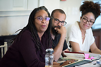 """The 23rd Robinson Jeffers Association Annual Conference hosts a panel on """"Blackness and Nature: Artists in Conversation"""". Seated from left: Camille Dungy; Douglas Kearney; Zinzi Clemmons. February 24, 2017 in Morrison Lounge of JSC.<br /> This conversation, between author Camille Dungy and special guest poets Douglas Kearney and Zinzi Clemmons, Assistant Professor, English, treats Blackness as an entry-way to rethinking nature and its relationship to poetry.<br /> This year's Conference theme is """"Robinson Jeffers and the Modern Metropolis: Los Angeles and Beyond.""""<br /> Sponsored by the Robinson Jeffers Association, Oxy Arts, English, Writing and Rhetoric Department including Interdisciplinary Writing, and Library Special Collections & College Archives with support of the Remsen Bird Fund, The Andrew W. Mellon Foundation Arts & Urban Experience Grant.<br /> (Photo by Marc Campos, Occidental College Photographer)"""