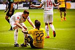11.05.2019, Signal Iduna Park, Dortmund, GER, 1.FBL, Borussia Dortmund vs Fortuna Düsseldorf, DFL REGULATIONS PROHIBIT ANY USE OF PHOTOGRAPHS AS IMAGE SEQUENCES AND/OR QUASI-VIDEO<br /> <br /> im Bild | picture shows:<br /> Niko Giesselmann (Fortuna #23) hilft Christian Pulisic (Borussia Dortmund #22) hoch, <br /> <br /> Foto © nordphoto / Rauch