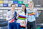Rachele Barbieri of Italy celebrates winning in the Women's Scratch 10 km final with Elinor Barker (l) of Great Britain and Jolien D'hoore (r) of Belgium as part of the 2017 UCI Track Cycling World Championships on 12 April 2017, in Hong Kong Velodrome, Hong Kong, China. Photo by Chris Wong / Power Sport Images