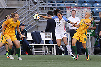 Seattle, WA - Thursday July 27, 2017: Christen Press, Tameka Butt during a 2017 Tournament of Nations match between the women's national teams of the United States (USA) and Australia (AUS) at CenturyLink Field.