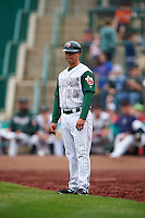 Fort Wayne TinCaps coach Vinny Lopez (15) during the first game of a doubleheader against the Great Lakes Loons on May 11, 2016 at Parkview Field in Fort Wayne, Indiana.  Great Lakes defeated Fort Wayne 3-0.  (Mike Janes/Four Seam Images)