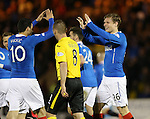 Marius Zaliukas celebrates with Haris Vuckic after he rescues a point for Rangers