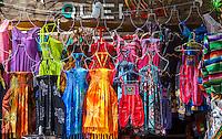 Souvenir Shops Selling Clothing, Dresses.  Playa del Carmen, Riviera Maya, Yucatan, Mexico.