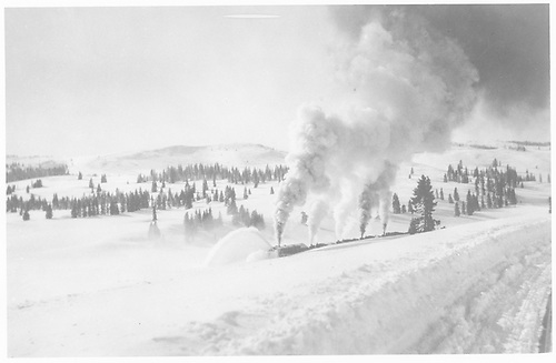 Rotary snowplow pushed by four engines clearing snow on Cumbres Pass.<br /> D&amp;RG  Cumbres Pass, CO