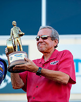 Sep 15, 2019; Mohnton, PA, USA; NHRA team owner Don Schumacher celebrates with the trophy after winning the Reading Nationals at Maple Grove Raceway. Mandatory Credit: Mark J. Rebilas-USA TODAY Sports