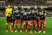 VALENCIA, SPAIN - MARCH 6: Atletico de Madrid team during BBVA League match between Valencia C.F. and Athletico de Madrid at Mestalla Stadium on March 6, 2015 in Valencia, Spain