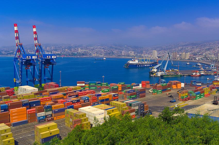 Port of Valparaiso (seen from Artilleria Hill), Valparaiso, Chile