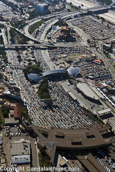 aerial photograph of San Ysidro, San Diego county, Tijuana border crossing at the Mexican American border