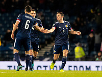 19th November 2019; Hampden Park, Glasgow, Scotland; European Championships 2020 Qualifier, Scotland versus Kazakhstan; John McGinn of Scotland celebrates equaliser from free kick  to make it 1-1 in the 48th minute
