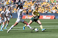9th November 2019; Bankwest Stadium, Parramatta, New South Wales, Australia; International Womens Friendly Football, Australia versus Chile; Hayley Raso of Australia prepares to shoot as Francisca Lara of Chile attempts to block - Editorial Use