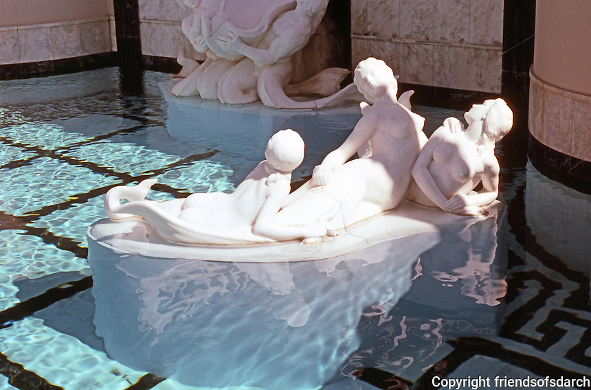 Hearst Castle: Neptune Pool--statuary. Photo '86.