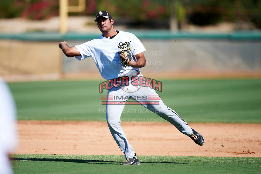 Chicago White Sox minor league shortstop Nick Basto #22 during an instructional league game against the Los Angeles Dodgers at the Camelback Training Complex on October 9, 2012 in Glendale, Arizona.  (Mike Janes/Four Seam Images)