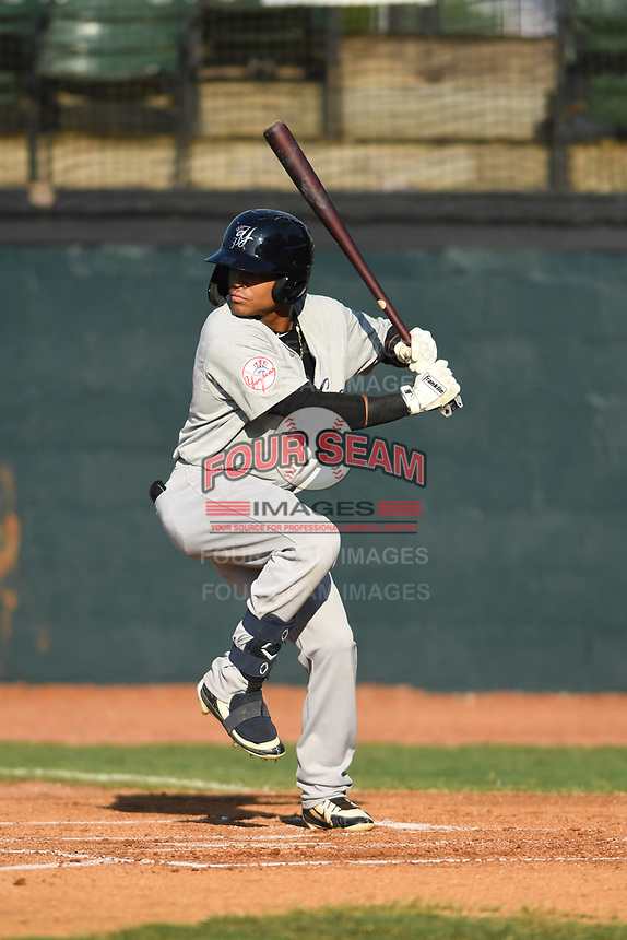 Pulaski Yankees Madison Santos (58) bats against the Bristol Pirates at Boyce Cox Field on July 8, 2019 in Bristol, Virginia. The Yankees defeated the Pirates 5-0. (Tracy Proffitt/Four Seam Images)