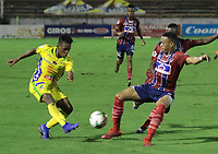 NEIVA- COLOMBIA, 29-01-2019:Acción de juego entre los equipos Atlético Huila y el Unión Magdalena   durante partido por la fecha 2 de la Liga Águila I 2019 jugado en el estadio Guillermo Plazas Alcid de la ciudad de Neiva. / Action game between Atletico Huila and Union Magdalena   during the match for the date 2 of the Liga Aguila I 2019 played at the Guillermo Plazas Alcid Stadium in Neiva  city. Photo: VizzorImage / Sergio Reyes / Contribuidor.