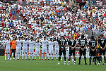 09 August 2009: The starters for both teams observer a minute of silence in honor of the death the previous day by Espanyol captain Dani Jarque. Real Madrid of Spain's La Liga defeated DC United of Major League Soccer 3-0 at FedEx Field in Landover, Maryland in an international club friendly soccer match.