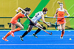 Eunbi Cheon #13 of Korea chases after the ball during Netherlands vs Korea in a Pool A game at the Rio 2016 Olympics at the Olympic Hockey Centre in Rio de Janeiro, Brazil.