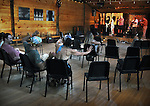 Overview of the Songwriters in the Round session in the Performance Hall, on the 2nd day of the 4th Annual Summer Hoot Festival held at the Ashokan Center, Olivebridge, NY, on Saturday, August 27, 2016. Photo by Jim Peppler; Copyright Jim Peppler 2016.
