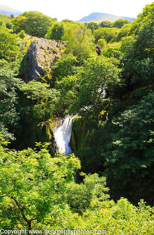 Ceunant Mawr waterfall near Llanberis Snowdonia, north Wales, UK view down to Llanberis