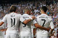 Real Madrid´s Cristiano Ronaldo, Bale and Benzema celebrating