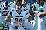 October 22, 2016 - Colorado Springs, Colorado, U.S. -   Hawaii players celebrate the Rainbow Warrior's double overtime victory with their Warrior chant following the NCAA Football game between the University of Hawaii Rainbow Warriors and the Air Force Academy Falcons, Falcon Stadium, U.S. Air Force Academy, Colorado Springs, Colorado.  Hawaii defeats Air Force in double overtime 43-27.