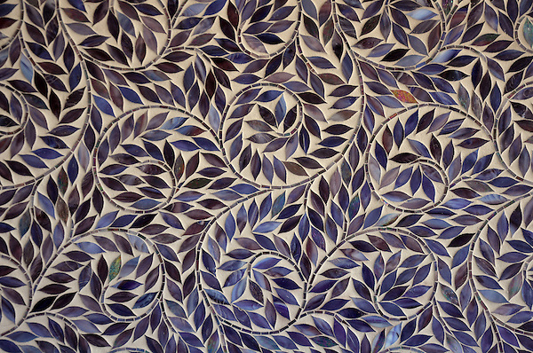 Jacqueline Vine, a jewel glass  waterjet mosaic shown in Amethyst, is part of the Silk Road Collection by Sara Baldwin for New Ravenna Mosaics.