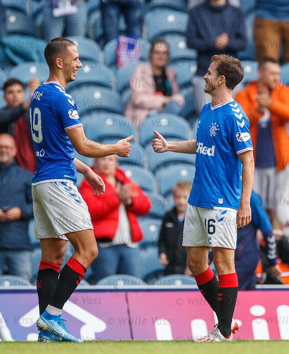 28.07.2019 Rangers v Derby County: Nikola Katic and Andy Halliday