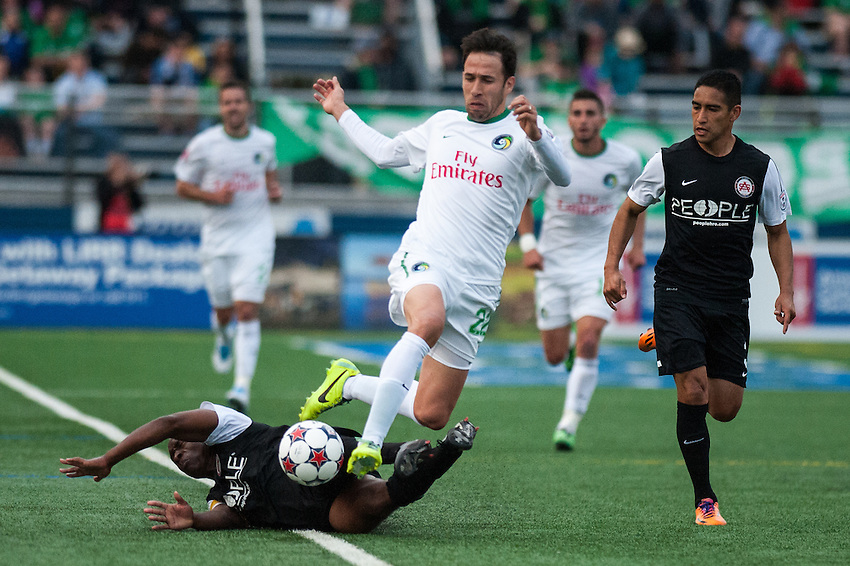 HEMPSTEAD, NY – April 13: Alessandro Noselli of the New York Cosmos fights for the ball against the Atlanta Silverbacks during an NASL match on April 13, 2014 at  Shuart Stadium in Hempstead, New York.