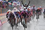 Maglia Ciclamino German Champion Pascal Ackermann (GER) Bora-Hansgrohe outsprints Fernando Gaviria (COL) UAE Team Emirates to win a very wet Stage 5 of the 2019 Giro d'Italia, running 140km from Frascati to Terracina, Italy. 15th May 2019<br /> Picture: Gian Mattia D'Alberto/LaPresse | Cyclefile<br /> <br /> All photos usage must carry mandatory copyright credit (© Cyclefile | Gian Mattia D'Alberto/LaPresse)
