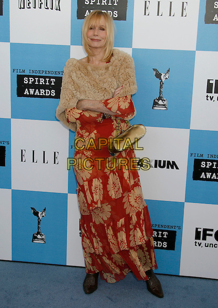 SALLY KELLERMAN .The 2007 Independent Spirit Awards held at the Santa Monica Pier, Santa Monica, California, USA..February 24th, 2007.full length red gold beige wrap shawl dress wrap pattern  .CAP/ADM/RE.©Russ Elliot/AdMedia/Capital Pictures