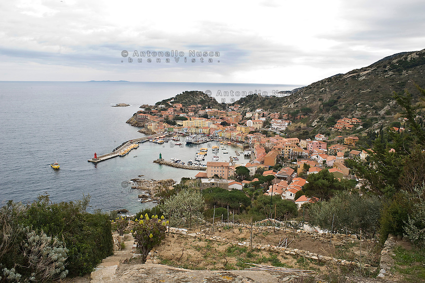 Island of Giglio, Italy, January 15, 2012. Una veduta panoramica del porto del Giglio..A panoramic view of Giglio port.