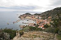 Island of Giglio, Italy, January 15, 2012. Una veduta panoramica del porto del Giglio..A panoramic view of Giglio port.