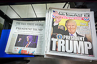 Despite the 3:00 AM concession, the News Corp. newspapers in New York came out with a print edition in time for the morning, seen on a newsstand in New York on Wednesday, November 9, 2016. Hillary Clinton conceded the election at about 3:00 AM making it a late night for everyone.  (© Richard B. Levine)
