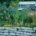 Retaining wall with decorative plants